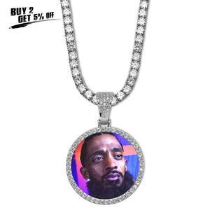 Image 2 - Medallones de memoria personalizados para fotos, COLLAR COLGANTE macizo con cadena de tenis, joyería de Hip Hop, cadena de circonia cúbica personalizada, regalo