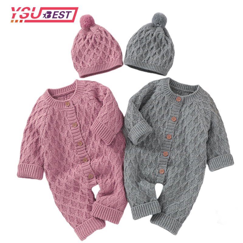 Baby Rompers Long Sleeve Autumn Winter Knitted Newborn Girls Boys Jumpsuits  Outfits One Pieces Overall Grey Toddler Kids Clothes-Leather bag