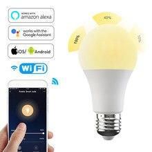 Wi fi inteligente lâmpada de iluminação para casa 15w e27 b22 rgb + w led mudança cor lâmpada regulável controle voz alexa google timer