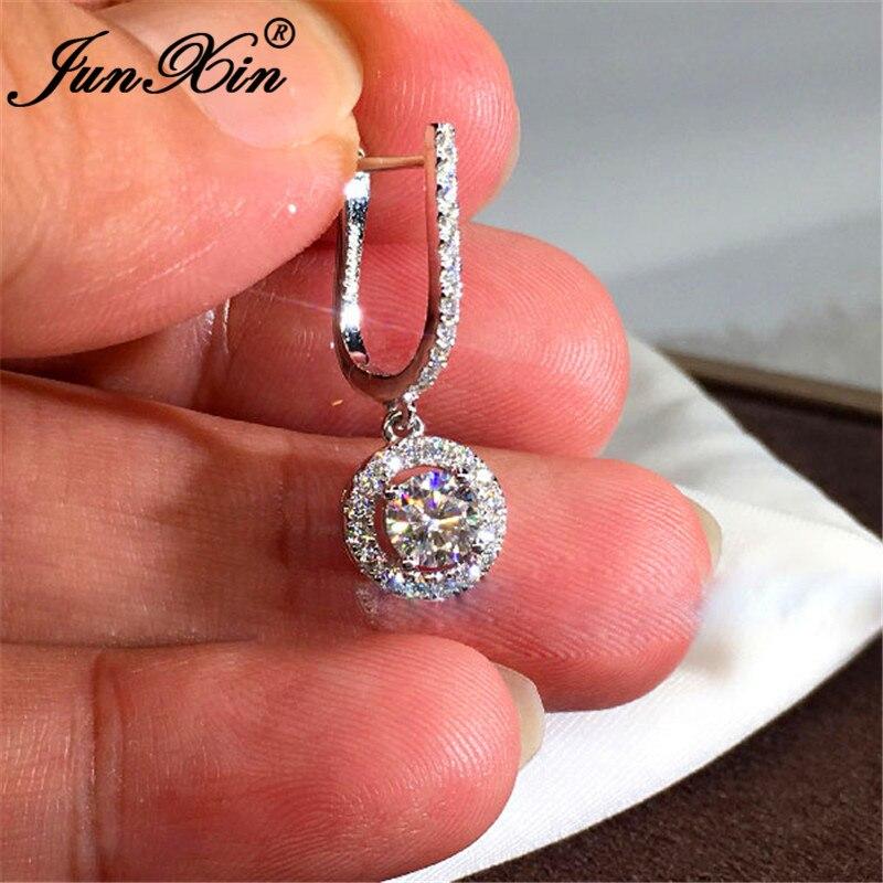 Boho Cute Crystal Round Hoop Earrings For Women Silver Color White Zircon Wedding Party Double Earring Female Ear Jewelry CZ
