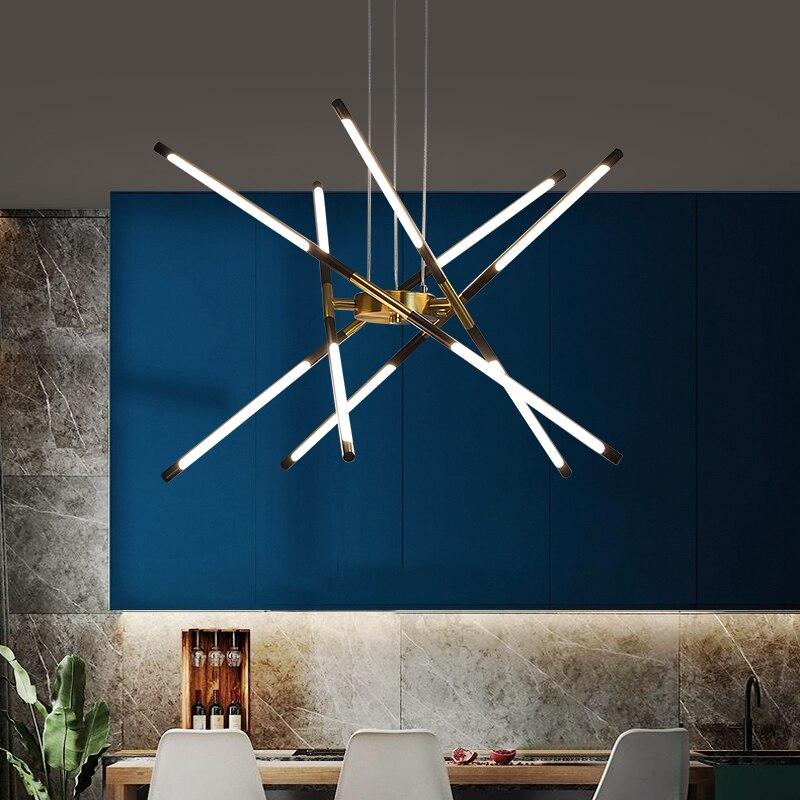 Nordic led lustres de iluminação interior moderna sala estar jantar quarto lâmpada casa preto ouro decoração villa pendurado luzes