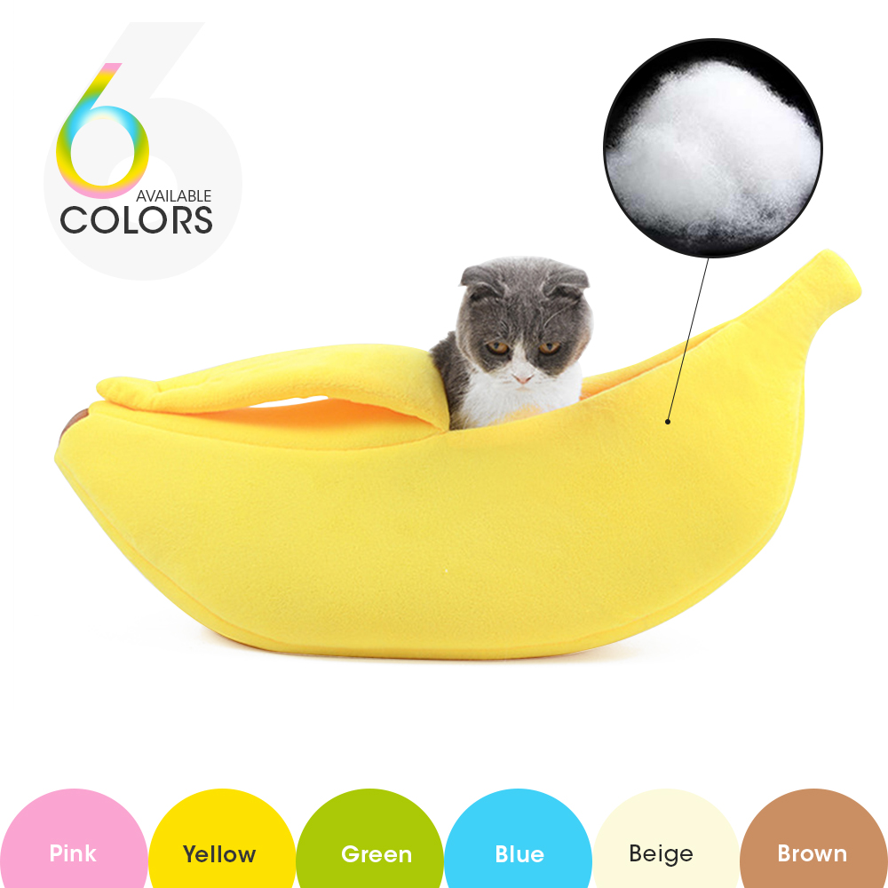 Small Pet Bed Banana Shape Fluffy Warm Soft Plush Breathable Bed Banana Cat Bed House For Cat Dog With Comfortable Pet Bed Portable Indoor In Winter House Plush Cozy Nest Mat Pad Yellow, M