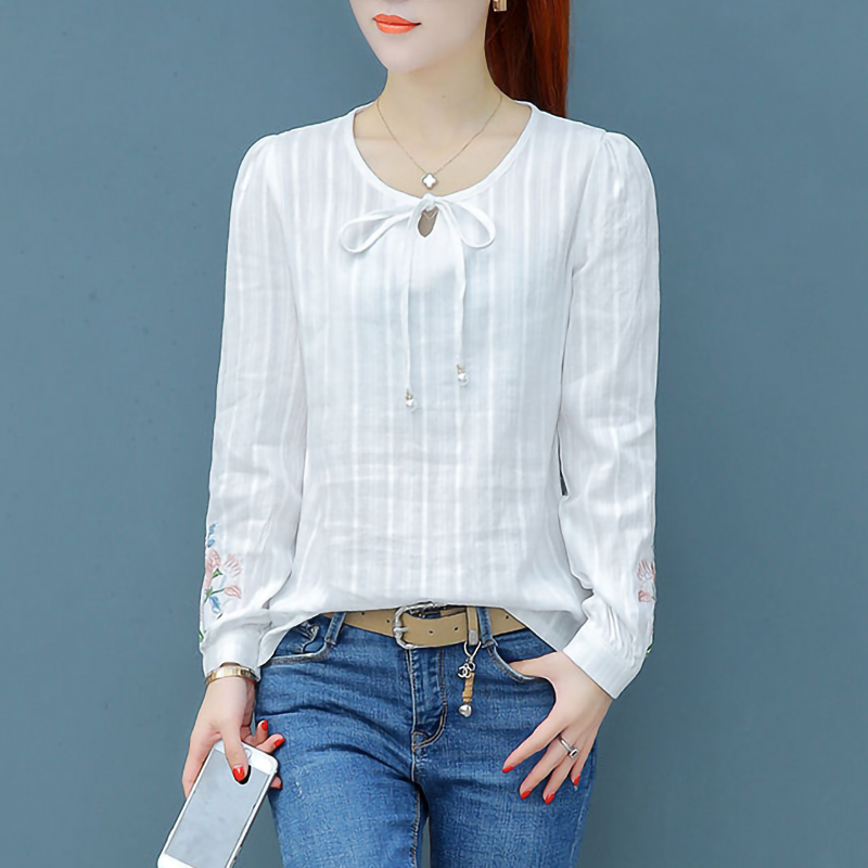 100% Cotton White Shirt Women Long Sleeve Embroidery Elegant Ladies Office Blouse Plus Size Tops
