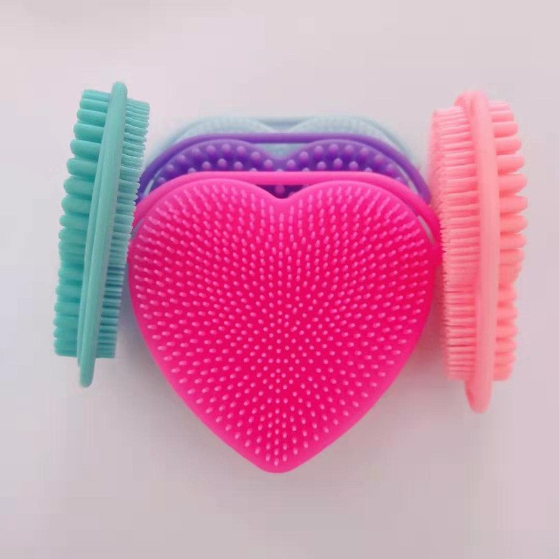 Silicone Heart Shape Clean Make Up Wash  Brushes Silica Scrubber Board Cosmetic Cleaning Tools For Exfoliating Blackhead Remover