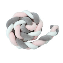 1 Pcs 1M/2M/3M Baby Handmade  Newborn Bed Bumper Long Knotted Braid Pillow Baby Bed Bumper Safe Knot Crib Infant Room Decor Hot все цены