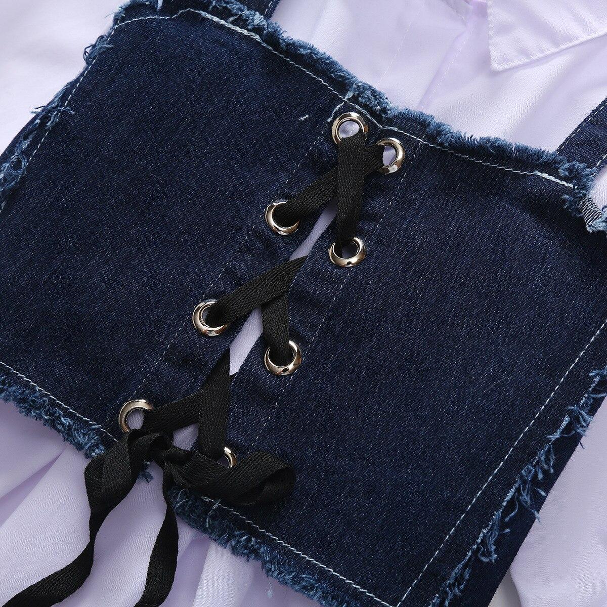 Girls Solid Color Fold-down Collar Long-Sleeve Shirt Dress L3.31 4