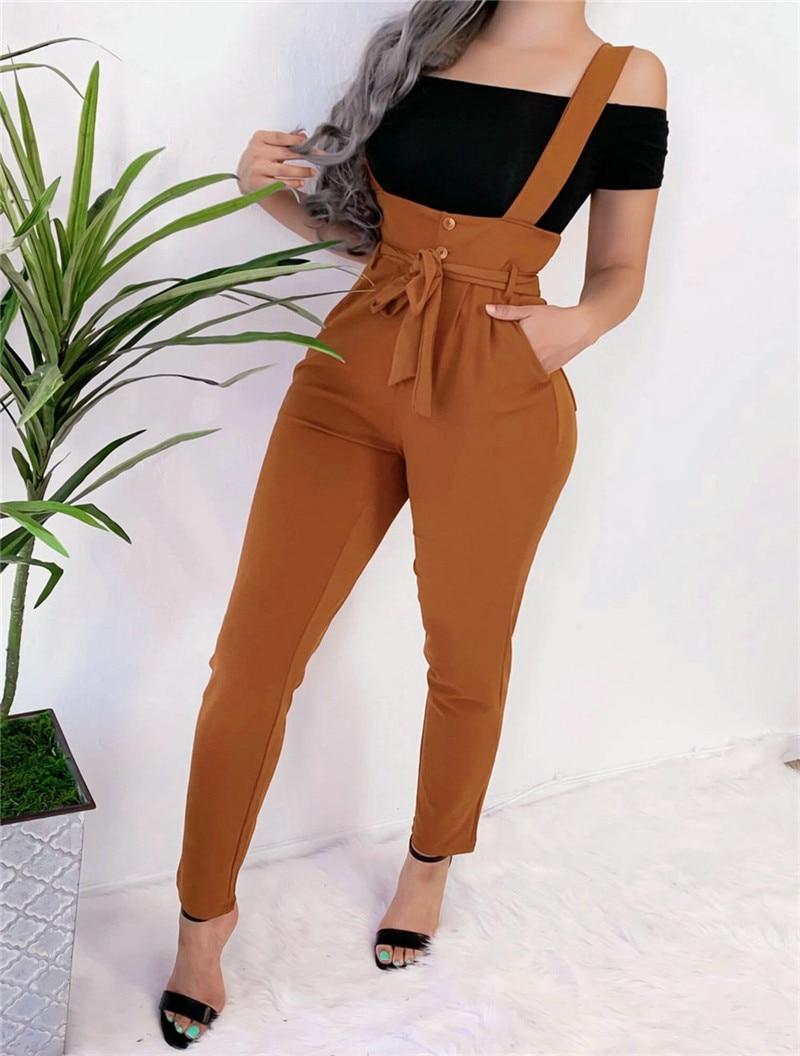 2019 Autumn Casual Fashion Loose Jumpsuit Women's Overall Jumpsuit Straps Romper Long Trousers High Waist Trousers Belt Pants