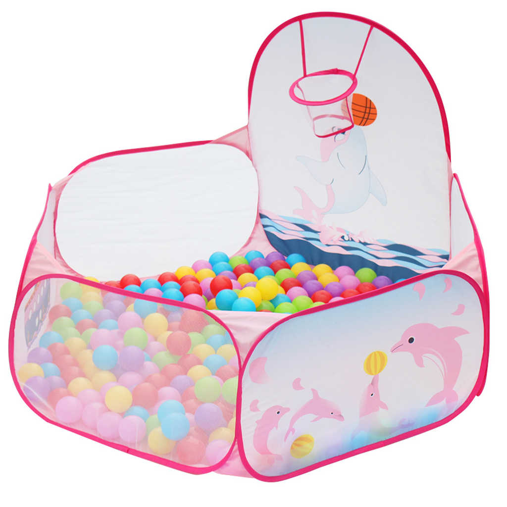 Dolphin Pop Up Ball Pit Play Tent, Portable Playhouse Fun Ball Pool Nursery Playpen with Hoop Ball Game Toddler Toy 120CM Dia