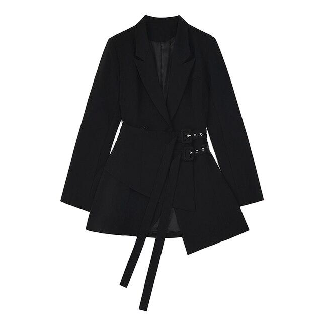 [EAM]  Women Irregular Bandage Spliced Blazer New Lapel Long Sleeve Loose Fit Jacket Fashion Tide Spring Autumn 20211DA710 2