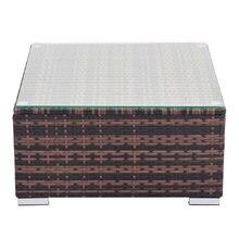 [us warehouse] квадратный стол из ротанга и стали