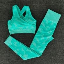 Yeni Yoga seti kadınlar dikişsiz kamuflaj üstleri/pantolon spor spor sutyeni yüksek bel spor tayt Camo spor takım elbise egzersiz setleri