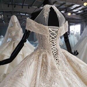 Image 4 - HTL1082 бальное платье, свадебное платье, роскошное платье для невесты с высоким воротом и открытыми плечами, блестящее платье, свадебное платье