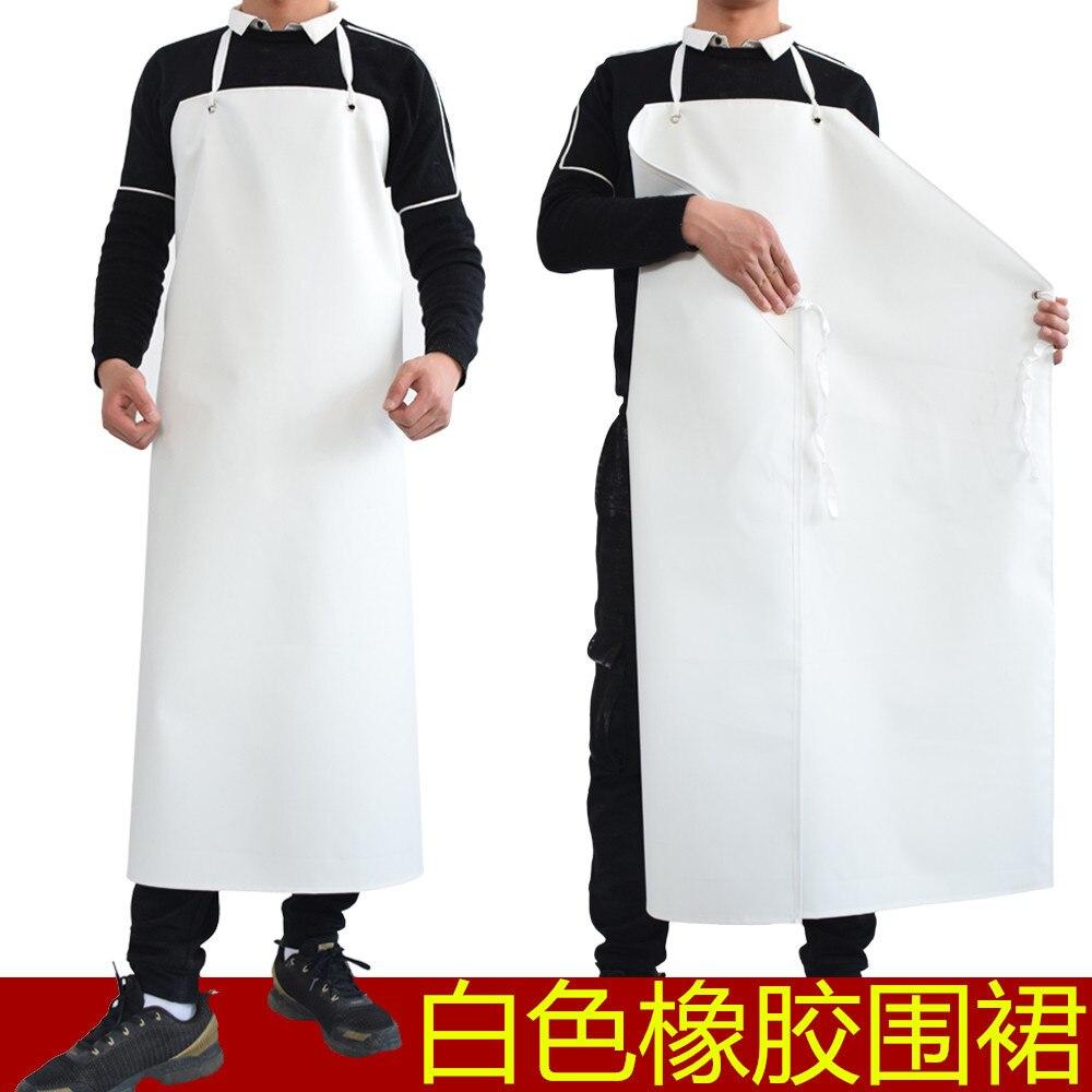 60 シルク濃厚な白色ゴム防水エプロンノースリーブキッチンエプロンホテル水筒 Slaughterhouse 作業酸とアルカリ耐性のエプロン