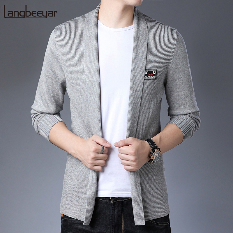 2019 Top Grade New Fashion Brand Sweater Men Cardigan Coat Slim Fit Jumpers Knitwear Winter Korean Style Casual Men Clothes