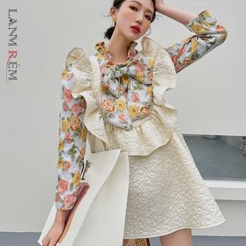 LANMREM Black Beige Big Flower Dress Half High Neck Bow Decoration High Waist Printed Cute Dresses Female 2021 New 2A8015 1