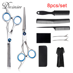 8/10pcs Professional Hairdressing Thinning Scissors Kit Hair Cutting Scissors Brush Hair Clip Cape Grooming Comb For Barbershop