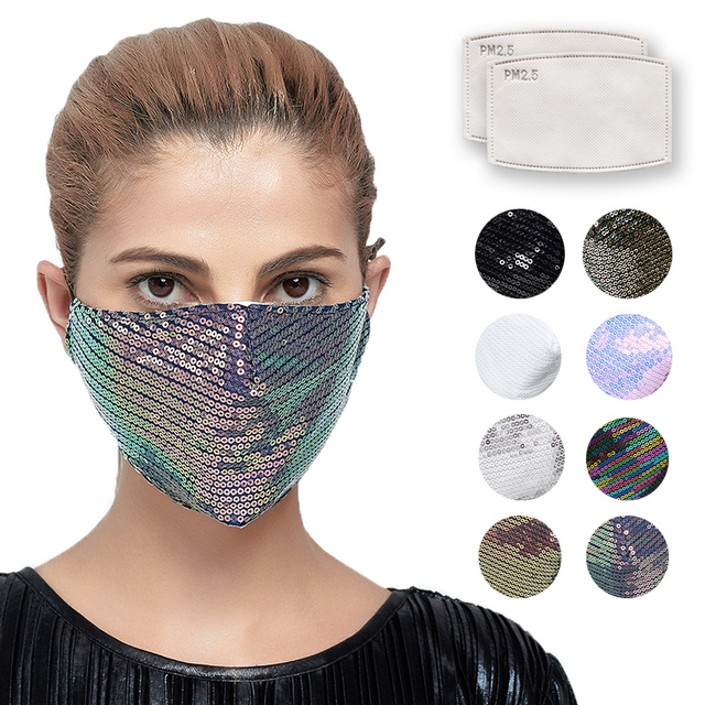 Laser Sequins Mouth Face Mask Colorful Fashion Mask Washable Reusable Mouth Face Mask Unisex Korean Mascarillas with 2pcs Filter