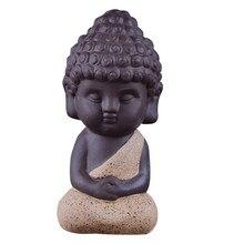 伝統的なリトル · ブッダ像モンク茶ペット装飾にカンフートレイ、瞑想のための禅ガーデン砂装飾