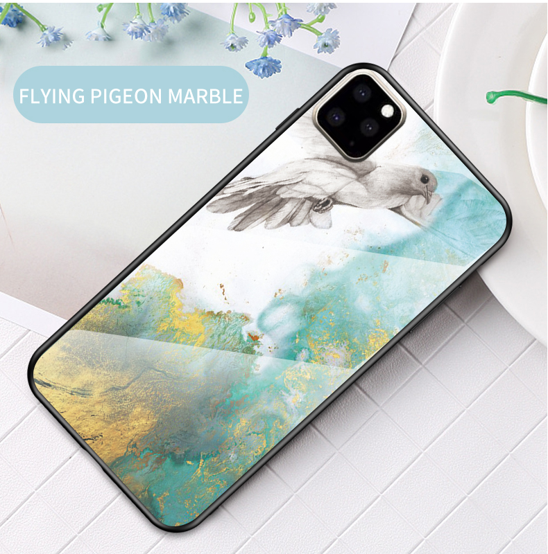 KEYSION Marble Tempered Glass Case for iPhone 11/11 Pro/11 Pro Max 11