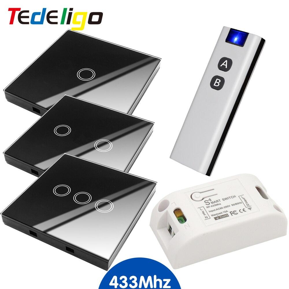 Tedeligo Smart Home Wireless Touch Switch AC 85-250V 1ch ricevitore 433Mhz telecomando schermo in vetro pannello a parete per lampada leggera