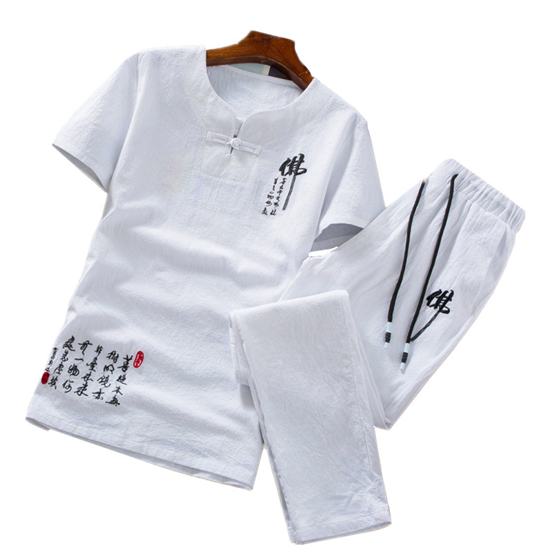 Summer Men T Shirt Short Sleeves And Ankle-Length Pants Cotton And Linen Fabric Men Two-piece Set Chinese Style Mens Sets 5xl