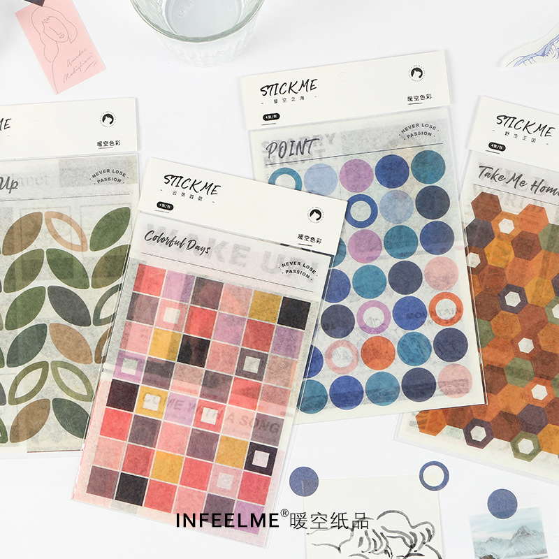4 Pcs Color Series Combination Stickers Journal Decorative Stickers Scrapbooking Stick Label Diary Stationery Album Stickers