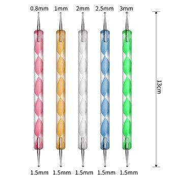 PRO Nail Set Manicure Set Strass Nail Rhinestones Tweezers Nail Buffer Blocks Files Dust Brush Dotting Pen Nail Tools Kit Design 5
