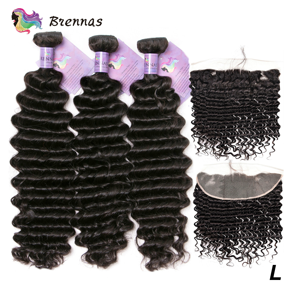Human Hair Bundles With 13x4 Lace Frontal Deep Wave Bundles With Frontal Low Ratio Non-Remy Brazilian Hair Bundles Women Hair