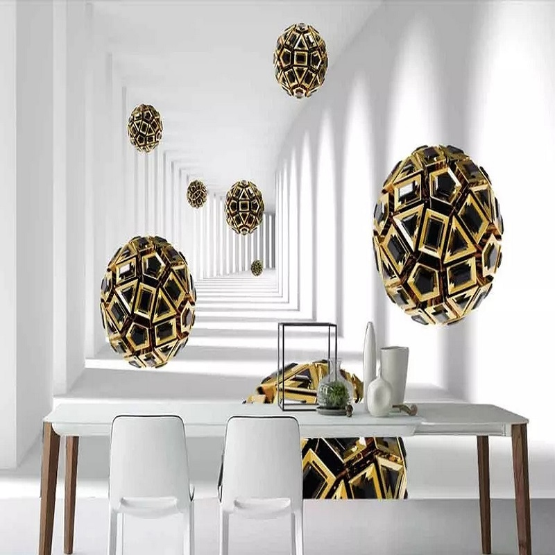 Custom Large Mural Modern Creative 3D Expansion Space Corridor Sphere Living Room TV Back Wall Decor Deep 5D Embossed