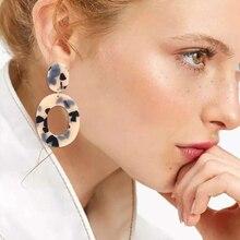 2019 Fashion Leopard Acrylic Earrings For Women Bohemian Big Statement Resin Pendant Drop Earring Geometric Jewelry Za Brincos kymyad brincos bohemian geometric drop earrings for women acrylic earings fashion jewelry colorful big statement earrings 2019