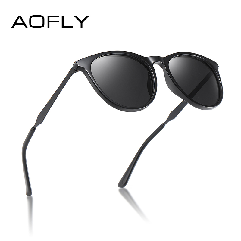 AOFLY BRAND DESIGN Polarized Sunglasses Women Men Vintage Eyewear Driving Sunglasses Female Alloy Temple Gafas De Sol Masculino