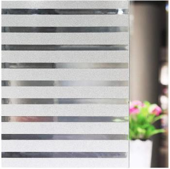 LUCKYYJ Striped Window Film Stain Glass Privacy Cling No-Glue Static Decorative Covering Frosted