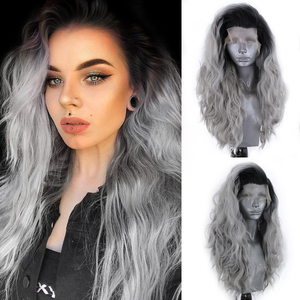 Charisma Long Wavy Ombre Grey Hair Heat Resistant Fiber Synthetic Lace Front Wig Natural Hairline For Black Women
