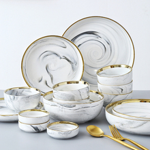 wedding decoration kitchen accessories home Nordic Marble Porcelain Bowl and Cutlery Set in
