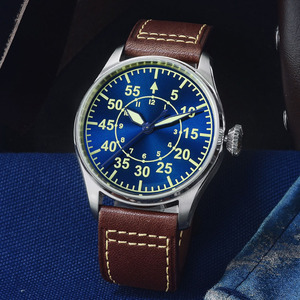 Image 2 - San Martin Pilot Men Mechanical Stainless Steel Watch Sapphire See through Case Back Luminous Leather Strap 100M Waterproof