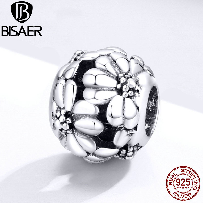 Daisy Charms BISAER Summer New 925 Sterling Silver Stackable Blossom Daisy Flowers Beads Charms for Bracelets Making ECC1487(China)