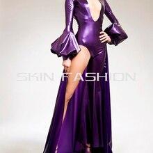 Новое поступление женские пышные рукава модные длинные латексные платья