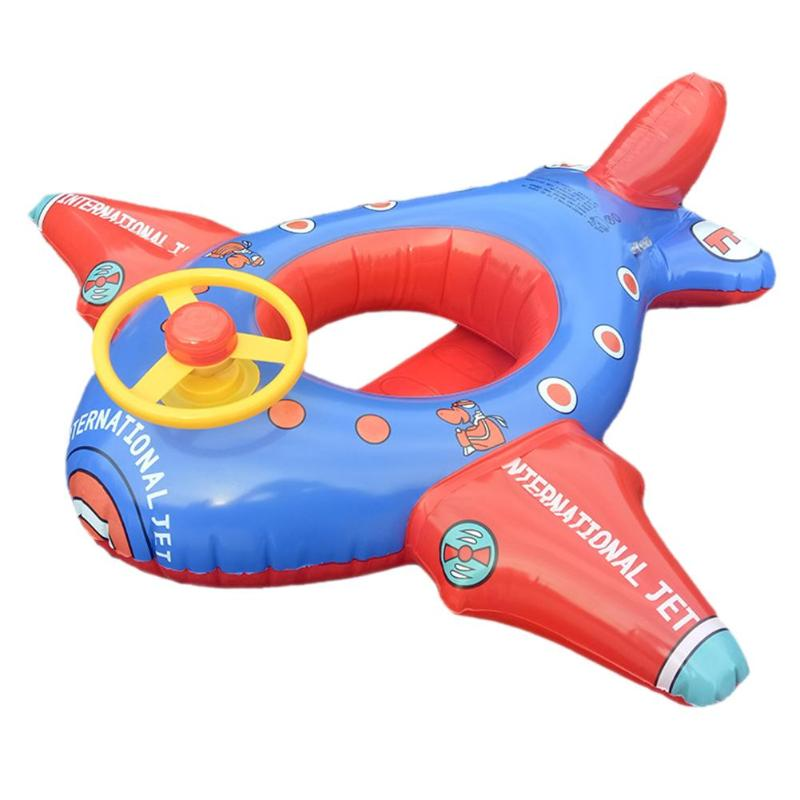 Inflatable Swimming Ring Cartoon Aircraft Seat Plane-shaped Float Circle Kids Baby  Pool Float Toys Summer Inflatable Water Play
