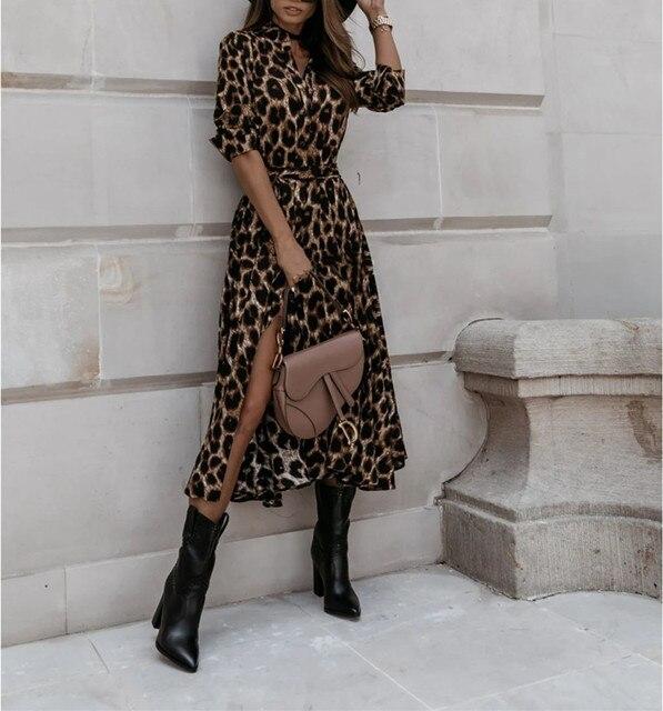 Casual Long Sleeve Split Leopard Print Dress 5