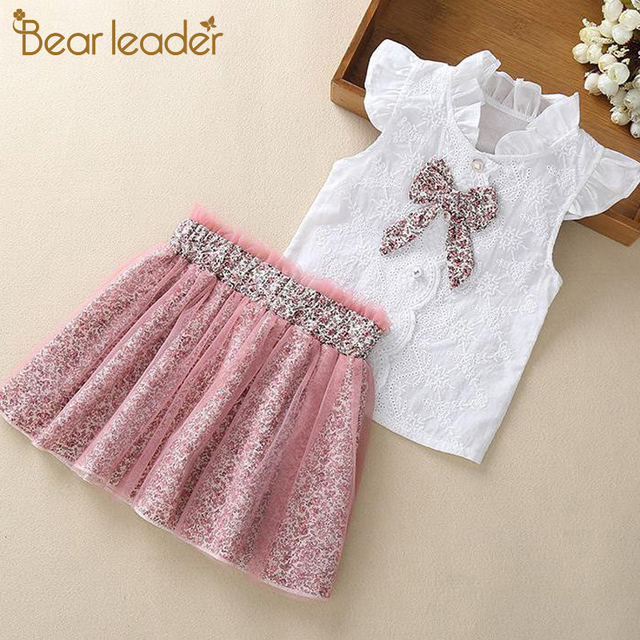 Bear Leader Girls Clothing Sets New Summer Sleeveless T-shirt+Print Bow Skirt 2Pcs for Kids Clothing Sets Baby Clothes Outfits