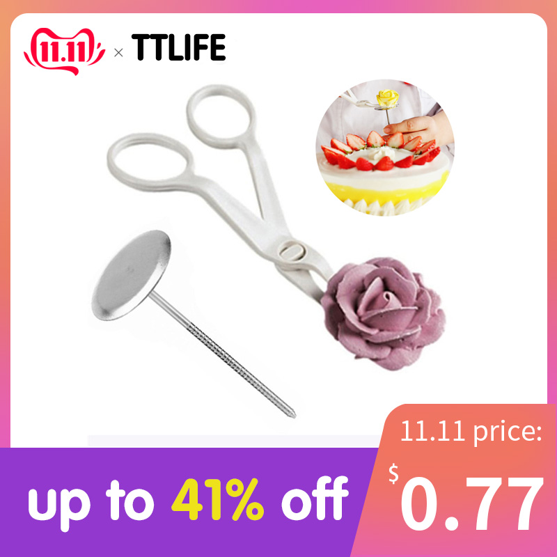 TTLIFE 2Pcs Piping Flower Scissors Nail Safety Rose Decor Lifter Fondant Cake Decorating Tray Cream Transfer Baking Pastry Tools