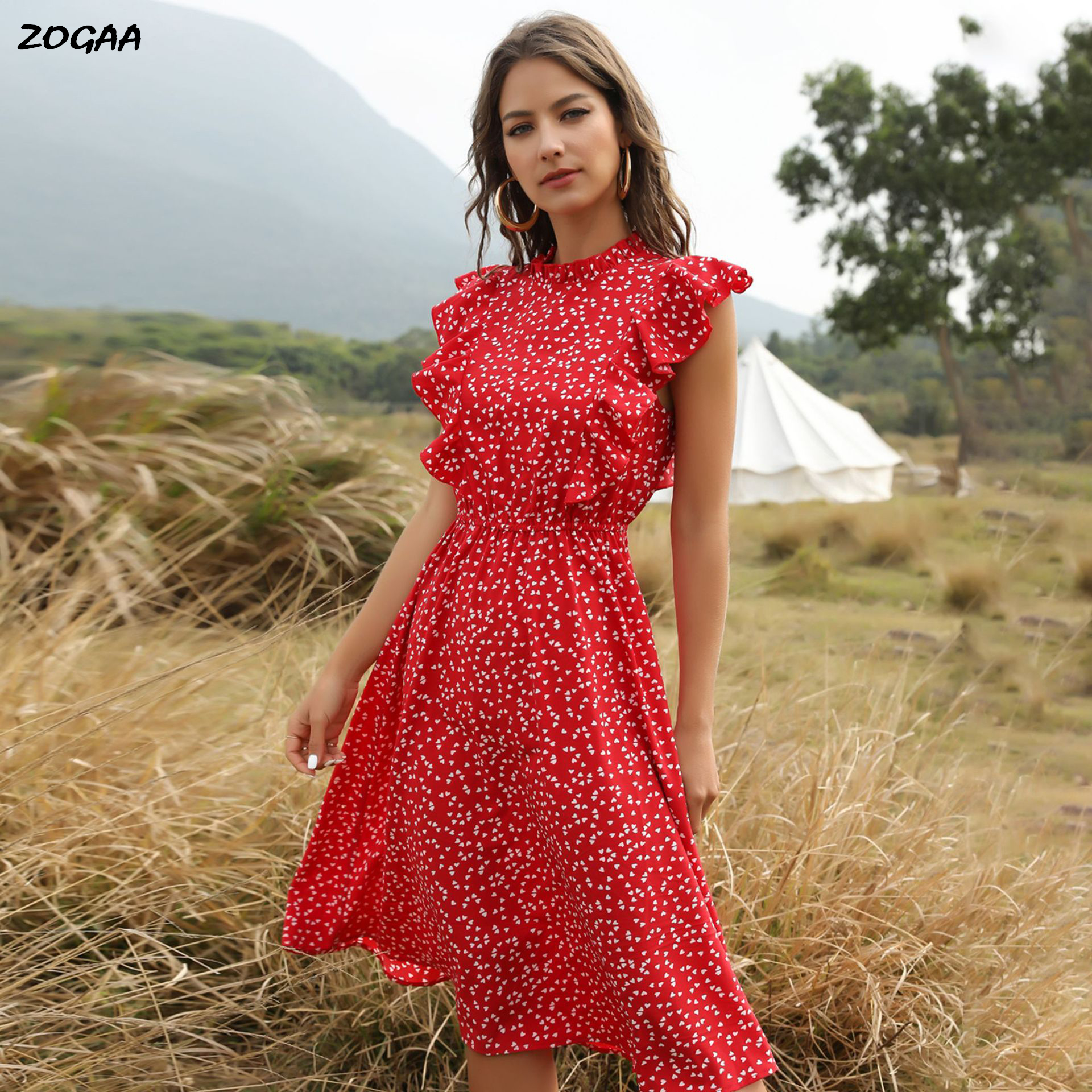 ZOGAA 2020 Summer Red Polka Dot Chiffon Skirt, Loose And Wild Mid-length Dress For Female