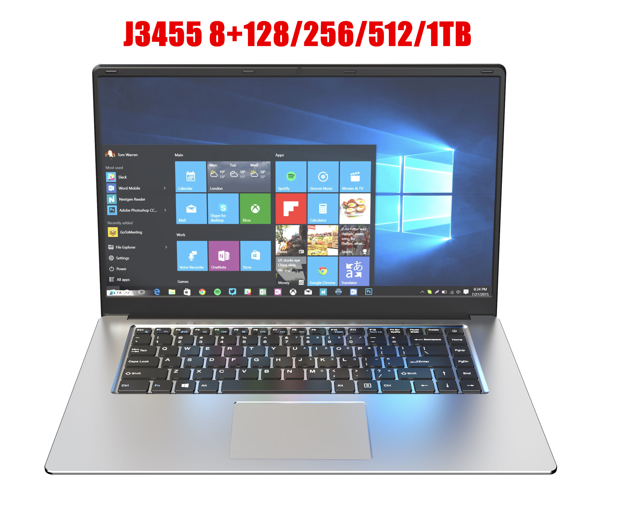 15.6 Inch Gaming With 8G RAM 1TB 512G 256G 128G 64G SSD ROM Laptop Ultrabook Intel Quad Core Windows 10 Notebook Computer-2