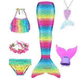 Image 5 - Girls Mermaid Tail Swimsuit 3 pcs Bikini Bathing Swimming Costumes Children Cosplay Dress With Monofin Fin Birthday gift