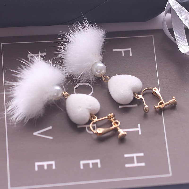 Love otter hair ball without pierced ear clip temperament long pearl tassel hair ball drop earrings