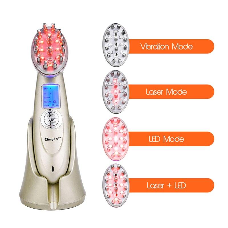 Cepillo de pelo de masaje eléctrico Laser tratamiento antipérdida de cabello infrarrojo RF Nano luz roja EMS vibración cepillo de pelo de masaje Care46