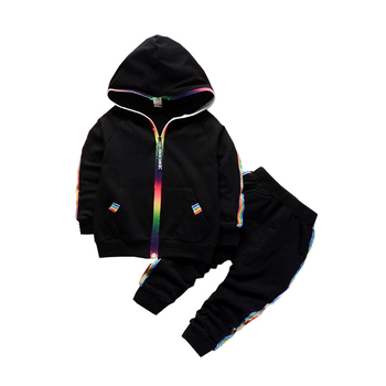Spring Autumn Baby Clothes Boys Girls Cotton Hooded Jacket Pants 2Pcs/Set Kids Fashion Suit  Infant Clothing Toddler Tracksuits spring autumn baby clothes suit children boys girls cartoon pattern hooded toddler fashion casual clothing kids outing costume