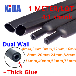 Heat Shrink Tube with Glue Adhesive Lined 4:1 Dual Wall Tubing Sleeve Wrap Wire Cable kit 6mm 8mm 12mm 16mm 20mm 24mm 32mm 36mm