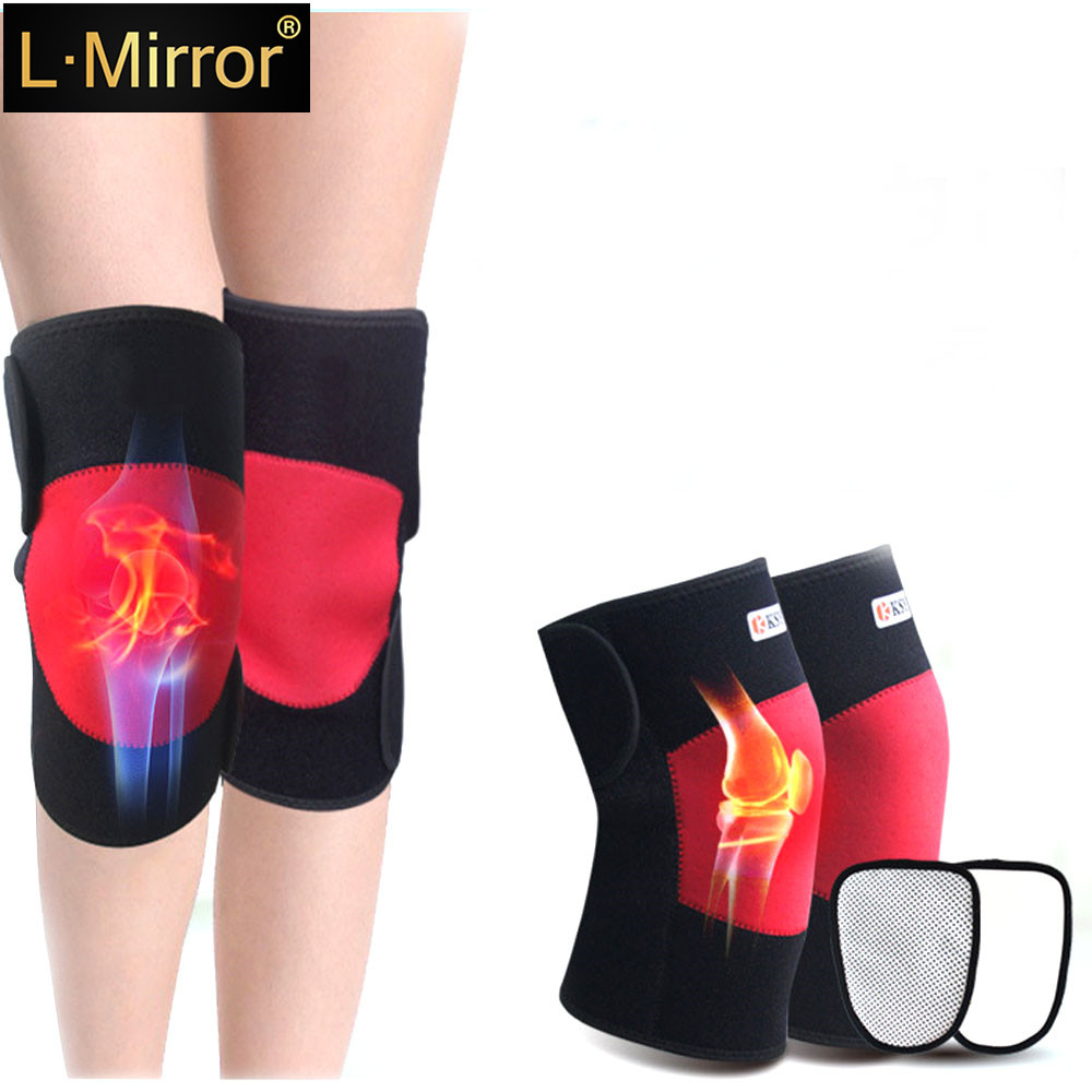 L.Mirror 1Pair Self Heated Knee Brace Wrap Magnetic  Heating Pad Hot Compress For Arthritis Pain Relief Recovery