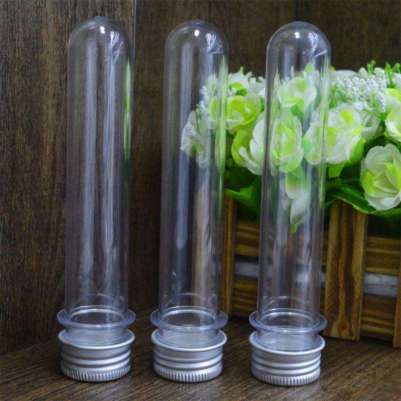 Plastic Test Tubes Clear And Transparent Candy Storage Containers With Screw Caps 40ml 10PCS